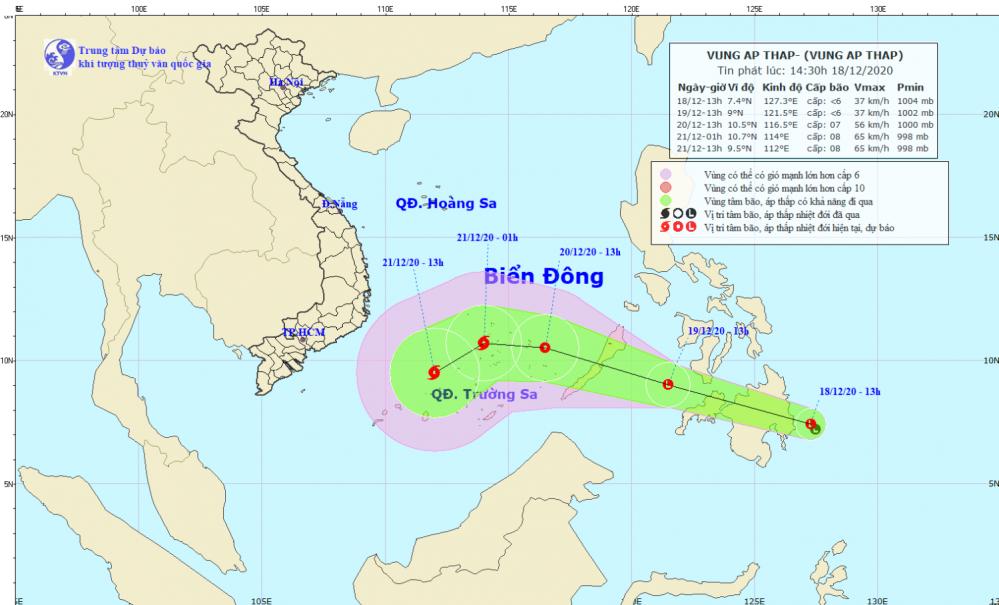 Tin vùng áp thấp gần Biển Đông (14h30 ngày 18/12)