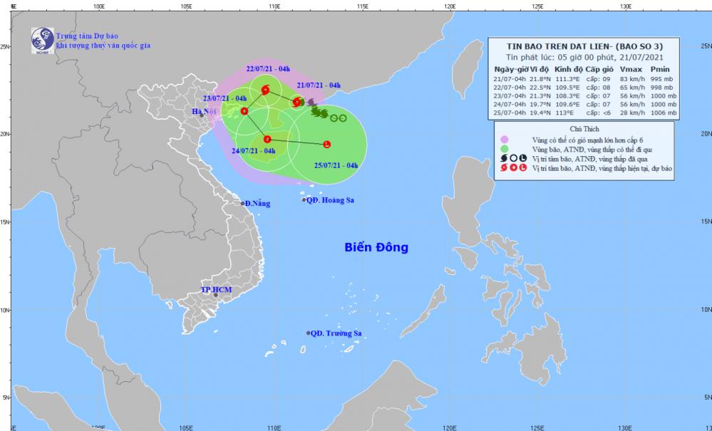 Tin bão trên đất liền - cơn bão số 03 (05h00 ngày 21/7)