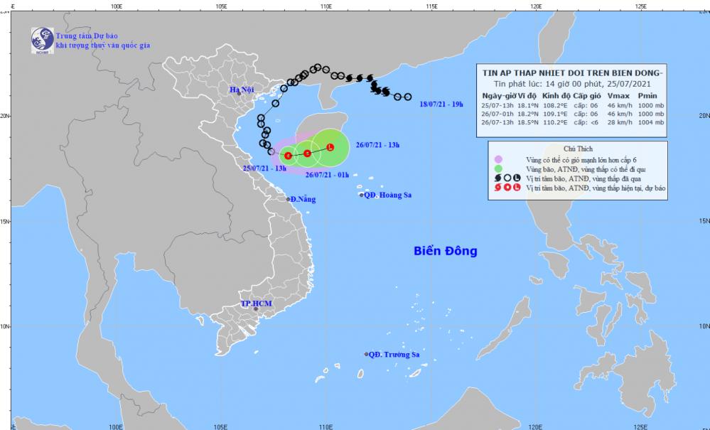 Tin áp thấp nhiệt đới trên Biển Đông (14h00 ngày 25/7)