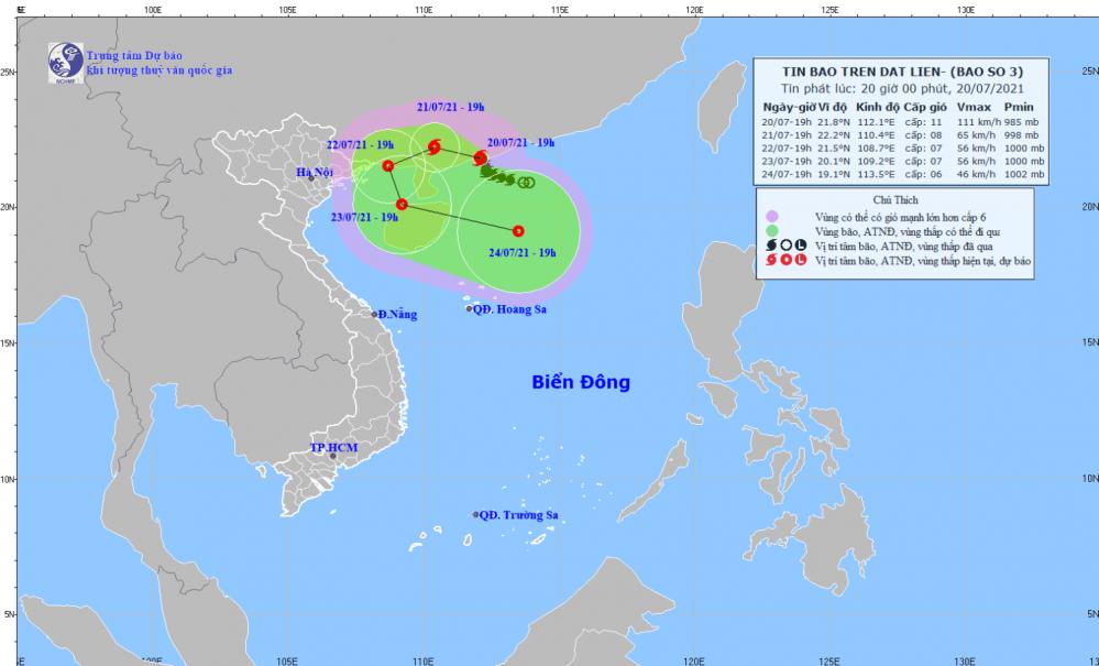 Tin bão trên đất liền - cơn bão số 03 (20h00 ngày 20/7)