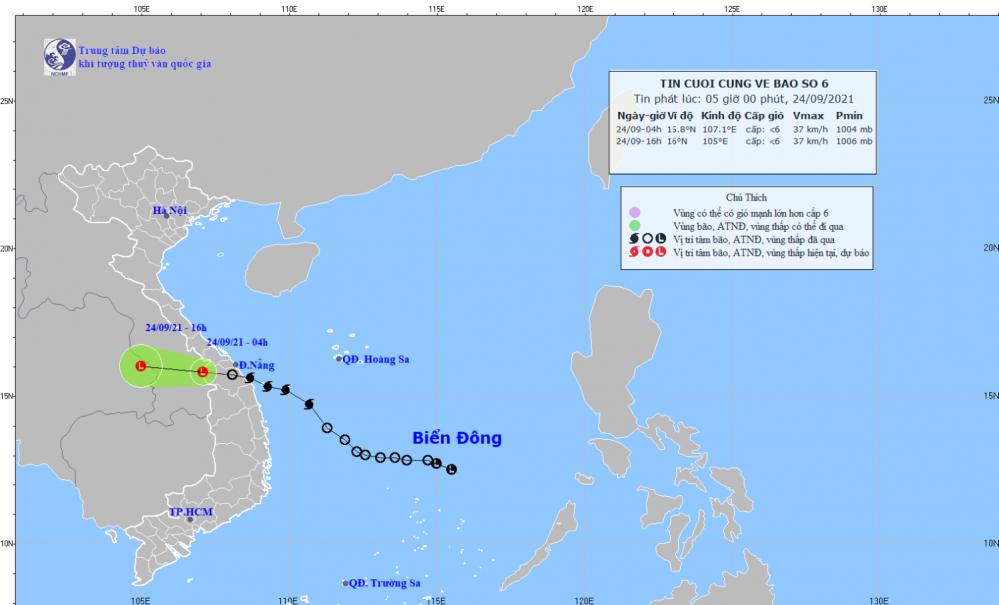 Tin cuối cùng về cơn bão số 06 (05h00 ngày 24/9)